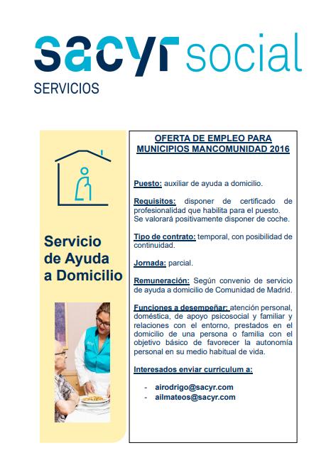 Oferta de empleo: Auxiliar de Ayuda a Domicilio